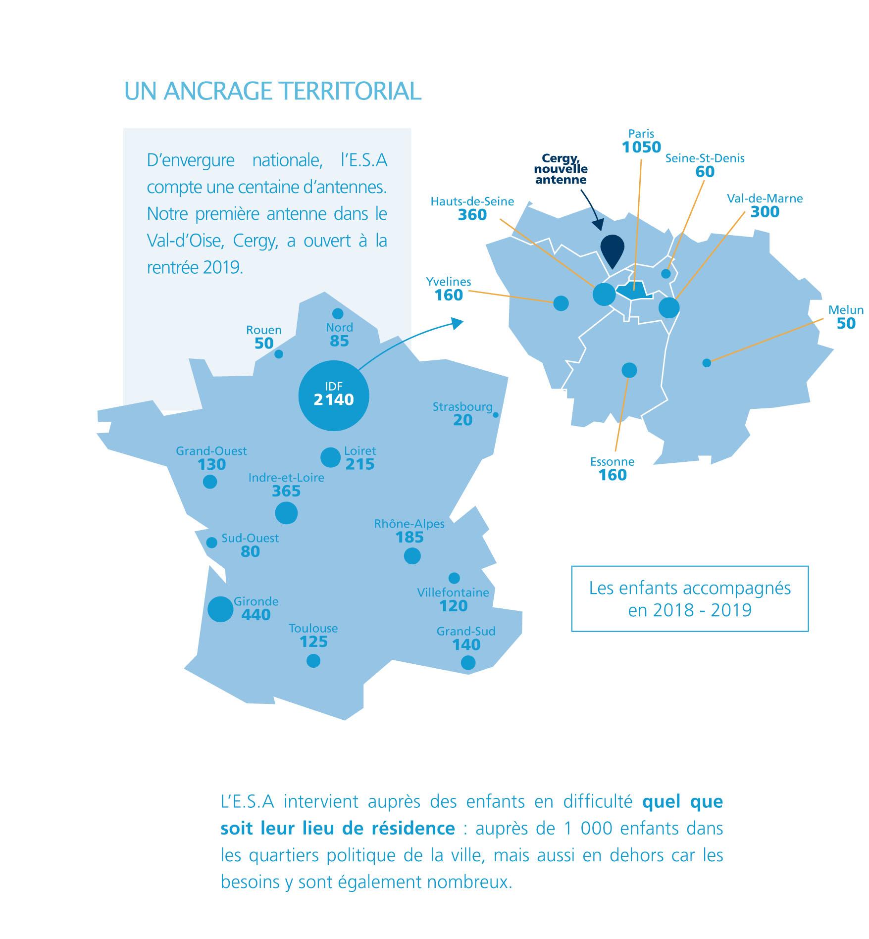 Carte : la répartition nationale des antennes de l'ESA